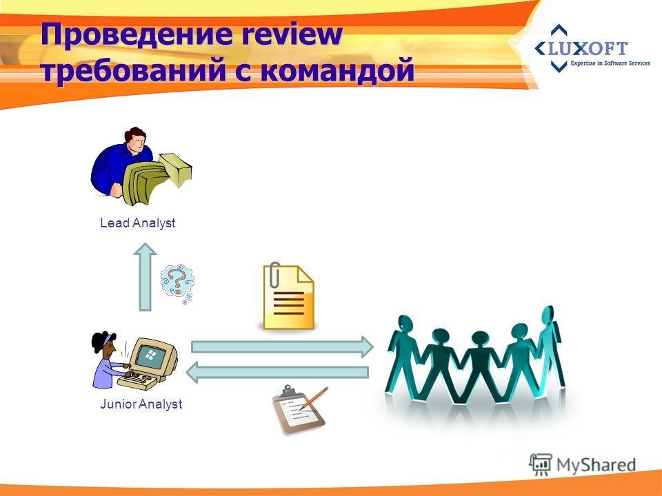 Проведение review требований с командой Junior Analyst Lead Analyst