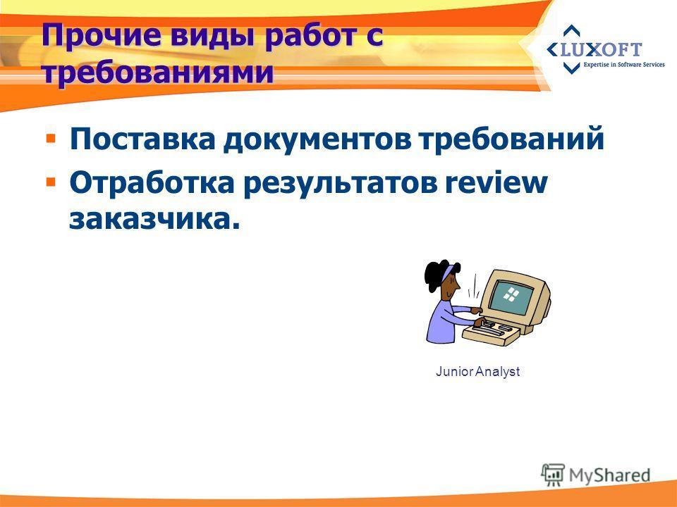 Прочие виды работ с требованиями Поставка документов требований Отработка результатов review заказчика. Junior Analyst