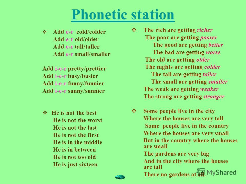 Phonetic station Add e-r cold/colder Add e-r old/older Add e-r tall/taller Add e-r small/smaller Add i-e-r pretty/prettier Add i-e-r busy/busier Add i-e-r funny/funnier Add i-e-r sunny/sunnier He is not the best He is not the worst He is not the last