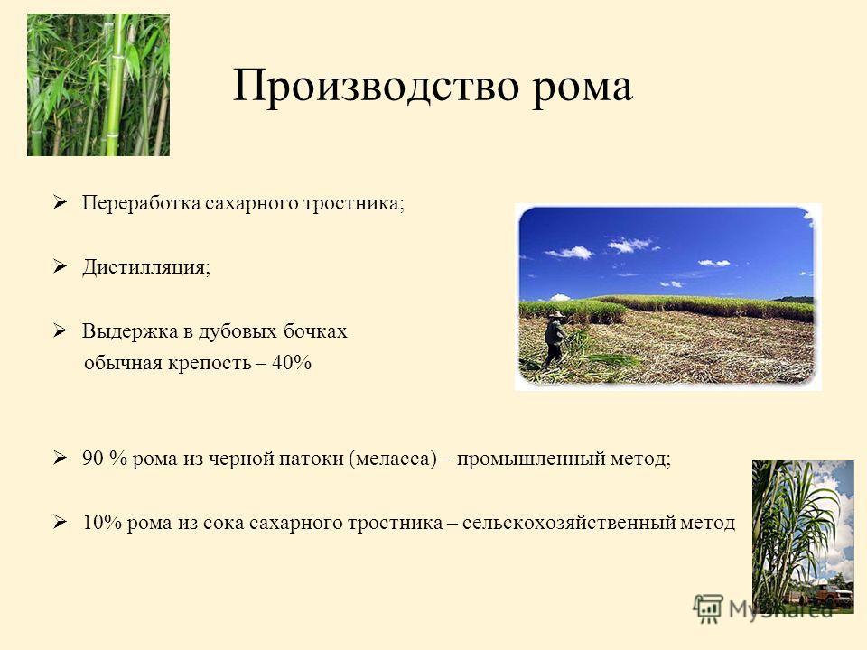 Производство рома Переработка сахарного тростника; Дистилляция; Выдержка в дубовых бочках обычная крепость – 40% 90 % рома из черной патоки (меласса) – промышленный метод; 10% рома из сока сахарного тростника – сельскохозяйственный метод