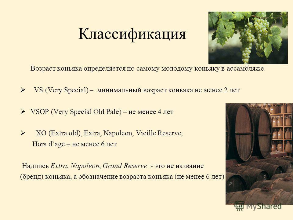 Классификация Возраст коньяка определяется по самому молодому коньяку в ассамбляже. VS (Very Special) – минимальный возраст коньяка не менее 2 лет VSOP (Very Special Old Pale) – не менее 4 лет XO (Extra old), Extra, Napoleon, Vieille Reserve, Hors d`