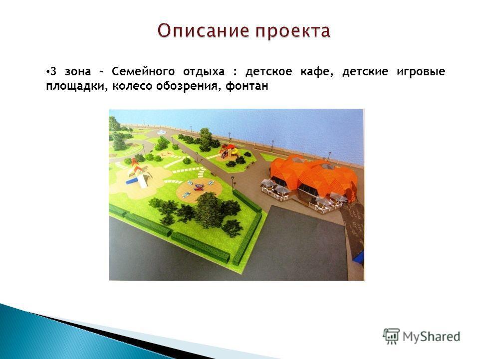 Описание проекта Описание проекта 3 зона – Семейного отдыха : детское кафе, детские игровые площадки, колесо обозрения, фонтан