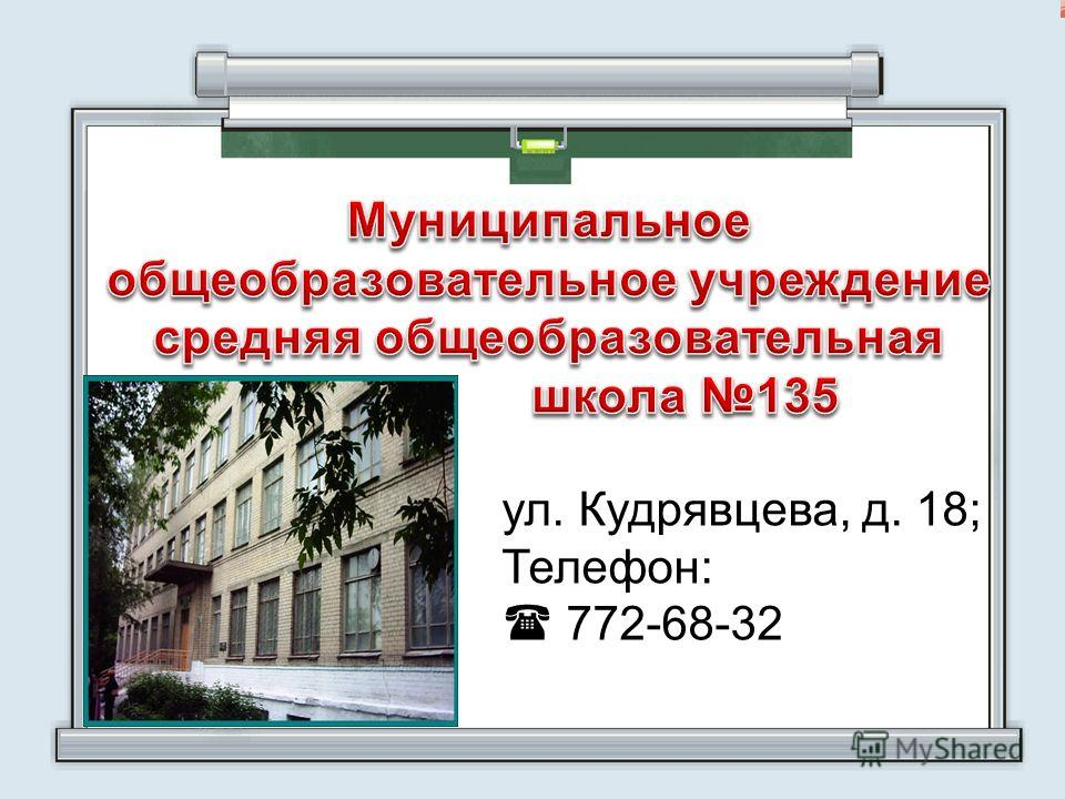 ул. Кудрявцева, д. 18; Телефон: 772-68-32