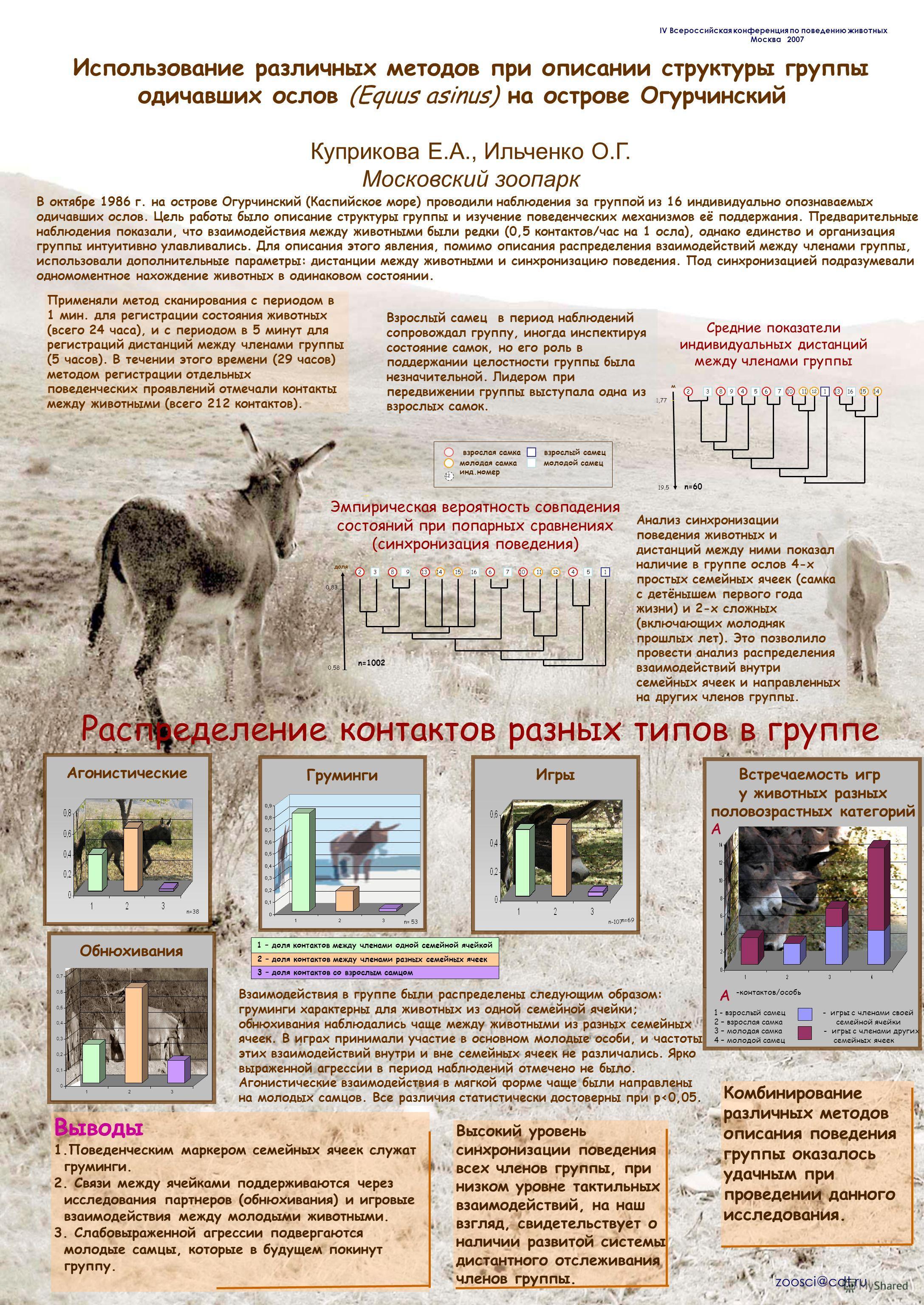 Использование различных методов при описании структуры группы одичавших ослов (Equus asinus) на острове Огурчинский Куприкова Е.А., Ильченко О.Г. Московский зоопарк В октябре 1986 г. на острове Огурчинский (Каспийское море) проводили наблюдения за гр