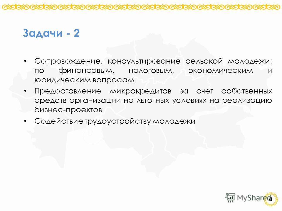 8 Задачи - 2 Сопровождение, консультирование сельской молодежи: по финансовым, налоговым, экономическим и юридическим вопросам Предоставление микрокредитов за счет собственных средств организации на льготных условиях на реализацию бизнес-проектов Сод