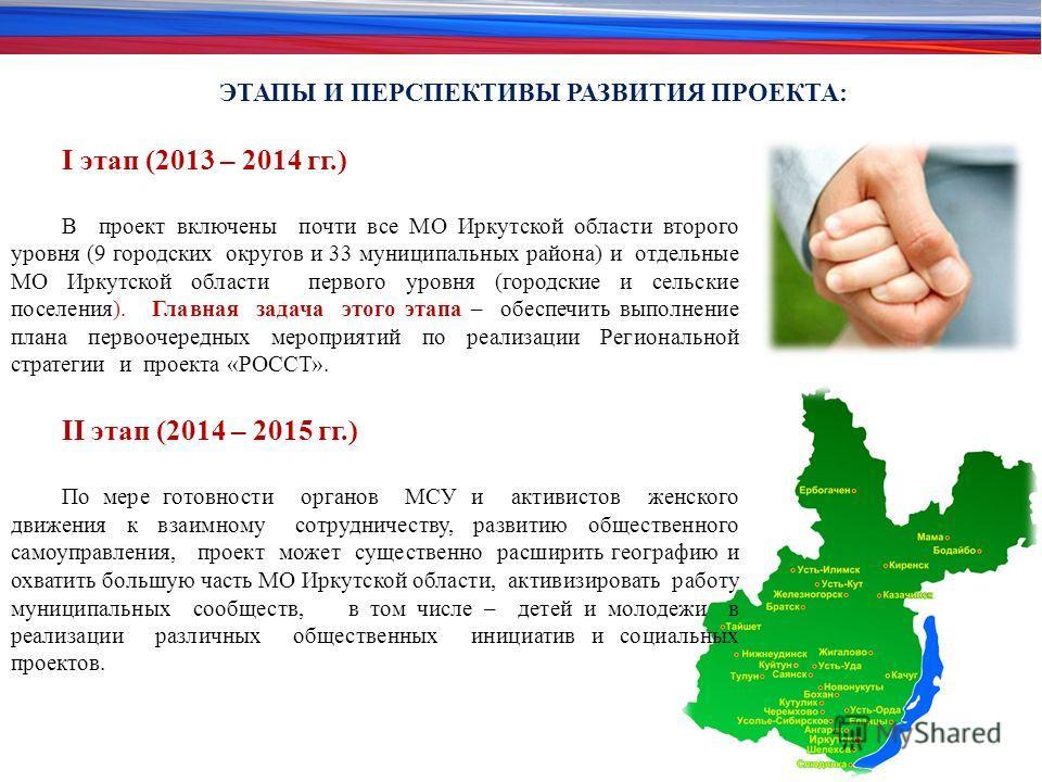 ЭТАПЫ И ПЕРСПЕКТИВЫ РАЗВИТИЯ ПРОЕКТА: I этап (2013 – 2014 гг.) В проект включены почти все МО Иркутской области второго уровня (9 городских округов и 33 муниципальных района) и отдельные МО Иркутской области первого уровня (городские и сельские посел