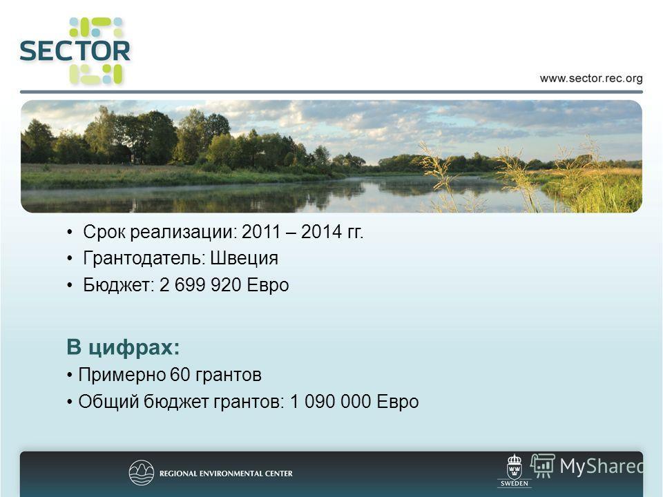 Срок реализации: 2011 – 2014 гг. Грантодатель: Швеция Бюджет: 2 699 920 Евро В цифрах: Примерно 60 грантов Общий бюджет грантов: 1 090 000 Евро