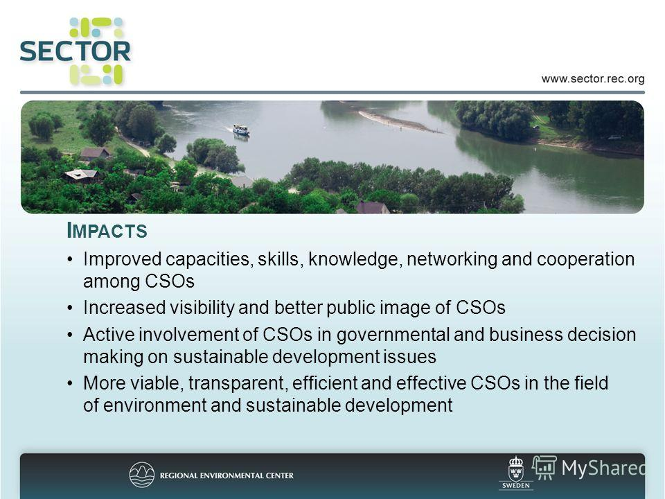 I MPACTS Improved capacities, skills, knowledge, networking and cooperation among CSOs Increased visibility and better public image of CSOs Active involvement of CSOs in governmental and business decision making on sustainable development issues More