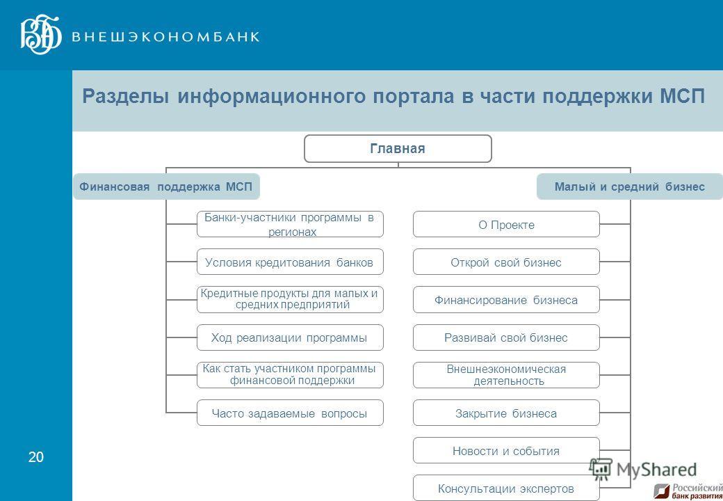 20 Разделы информационного портала в части поддержки МСП