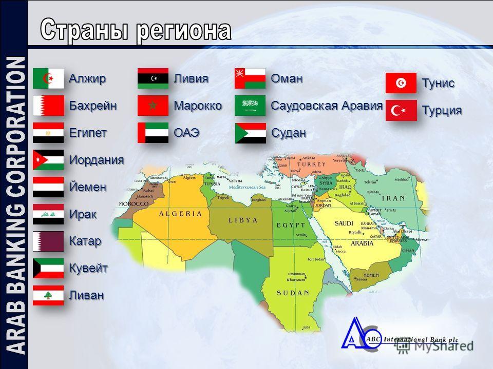 Алжир Бахрейн Египет Иордания Оман ОАЭ Катар Йемен Марокко Кувейт Ливия Ливан Саудовская Аравия Судан Тунис Ирак Турция