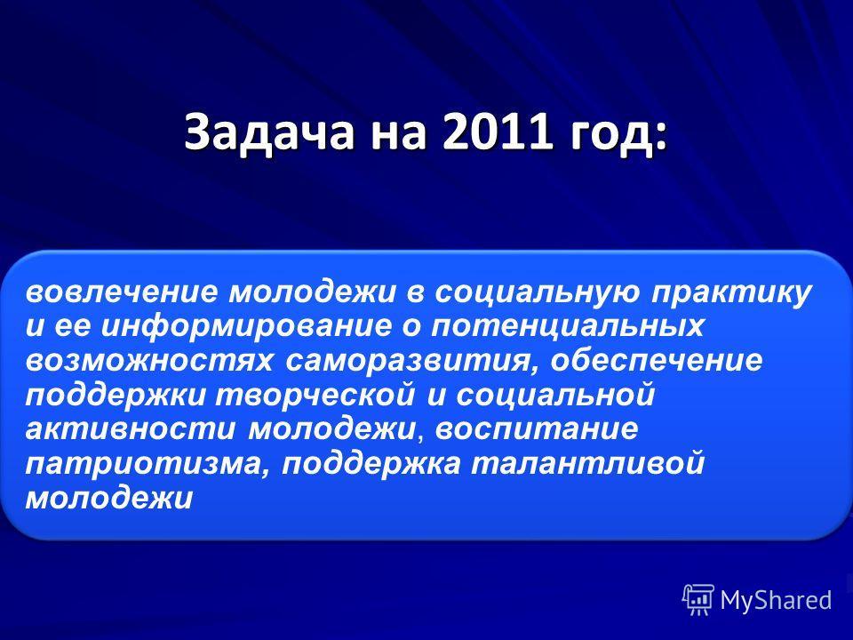 Задача на 2011 год: вовлечение молодежи в социальную практику и ее информирование о потенциальных возможностях саморазвития, обеспечение поддержки творческой и социальной активности молодежи, воспитание патриотизма, поддержка талантливой молодежи
