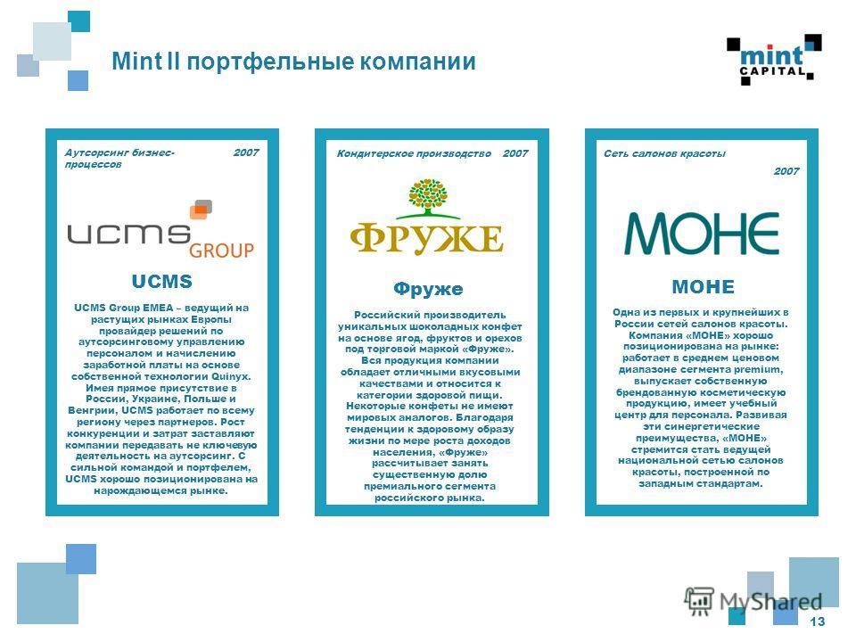 13 Mint II портфельные компании 2007 UCMS Group EMEA – ведущий на растущих рынках Европы провайдер решений по аутсорсинговому управлению персоналом и начислению заработной платы на основе собственной технологии Quinyx. Имея прямое присутствие в Росси