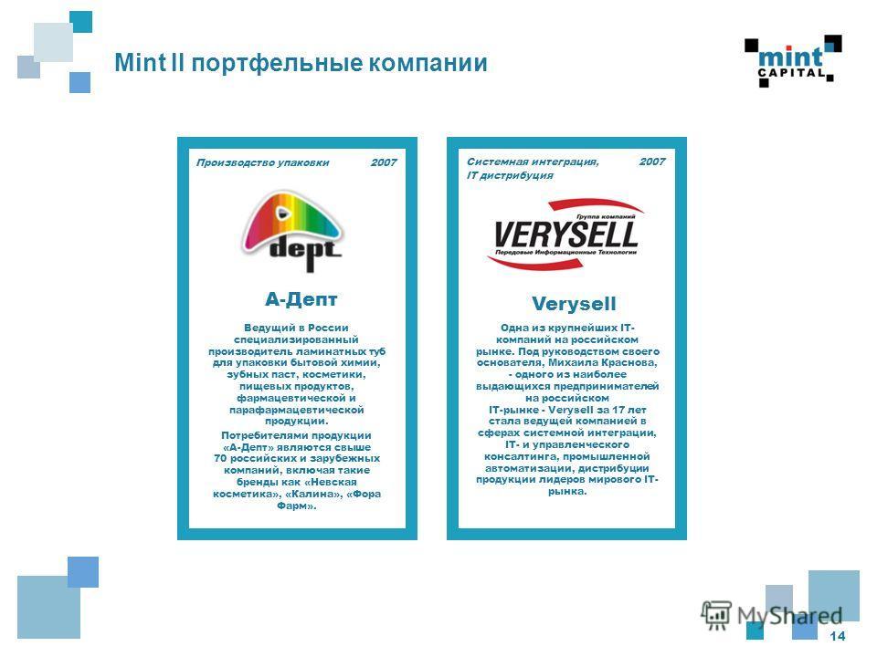 14 Mint II портфельные компании 2007 Ведущий в России специализированный производитель ламинатных туб для упаковки бытовой химии, зубных паст, косметики, пищевых продуктов, фармацевтической и парафармацевтической продукции. Потребителями продукции «А