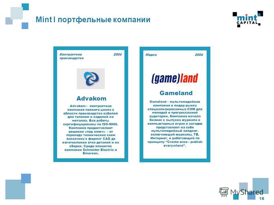 16 Mint I портфельные компании 2004 Gameland – мультимедийная компания и лидер рынка специализированных СМИ для молодой и прогрессивной аудитории. Компания начала бизнес с выпуска журнала о компьютерных играх и сегодня представляет из себя мультимеди