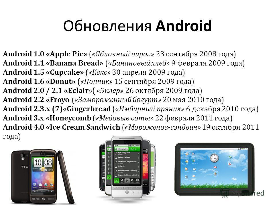 Обновления Android Android 1.0 «Apple Pie» («Яблочный пирог» 23 сентября 2008 года) Android 1.1 «Banana Bread» («Банановый хлеб» 9 февраля 2009 года) Android 1.5 «Cupcake» («Кекс» 30 апреля 2009 года) Android 1.6 «Donut» («Пончик» 15 сентября 2009 го