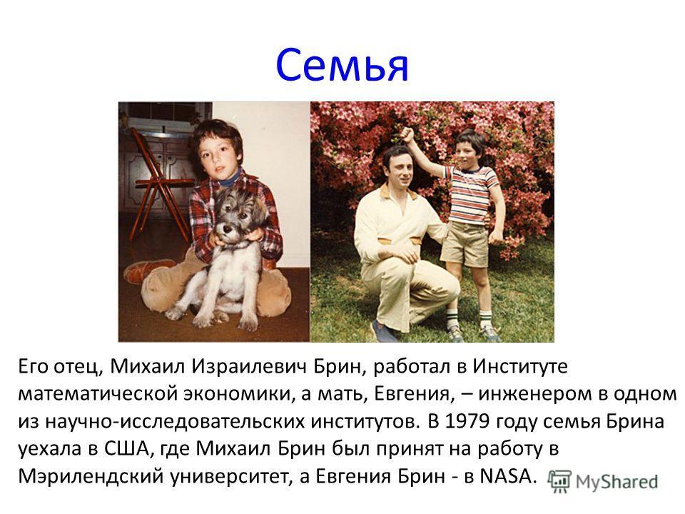 Семья Его отец, Михаил Израилевич Брин, работал в Институте математической экономики, а мать, Евгения, – инженером в одном из научно-исследовательских институтов. В 1979 году семья Брина уехала в США, где Михаил Брин был принят на работу в Мэрилендск