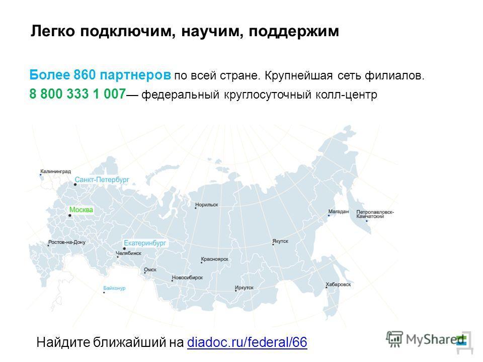 Более 860 партнеров по всей стране. Крупнейшая сеть филиалов. 8 800 333 1 007 федеральный круглосуточный колл-центр Легко подключим, научим, поддержим Найдите ближайший на diadoc.ru/federal/66diadoc.ru/federal/66