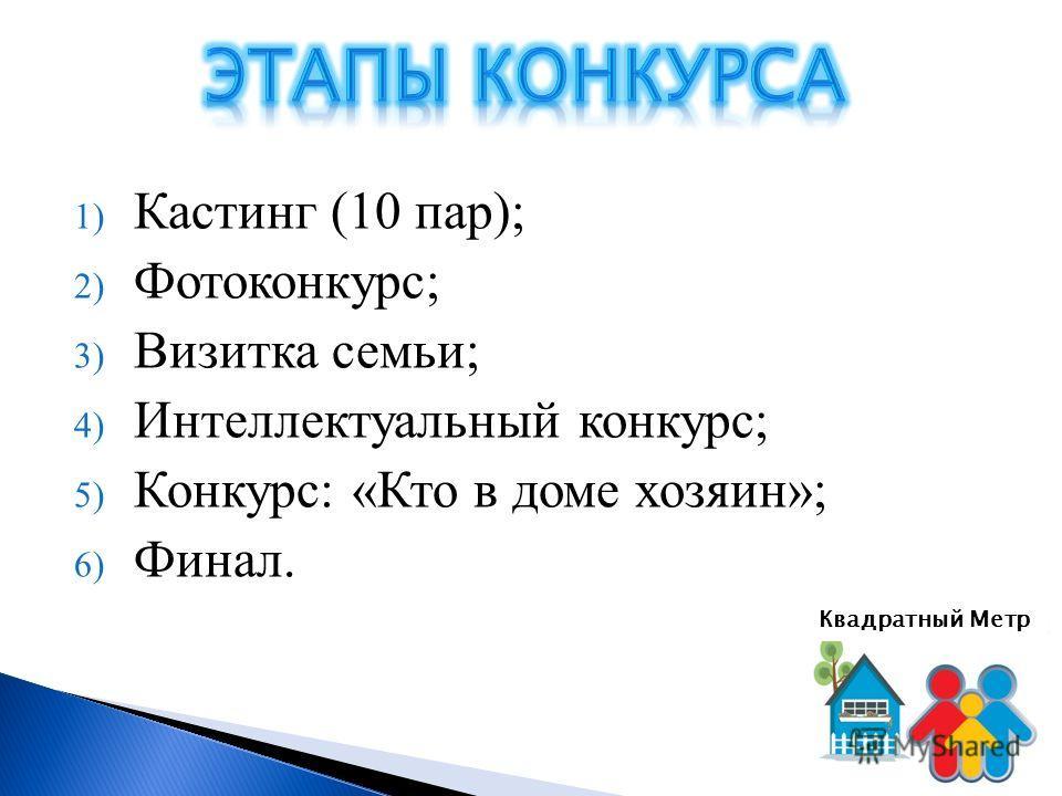 1) Кастинг (10 пар); 2) Фотоконкурс; 3) Визитка семьи; 4) Интеллектуальный конкурс; 5) Конкурс: «Кто в доме хозяин»; 6) Финал. Квадратный Метр
