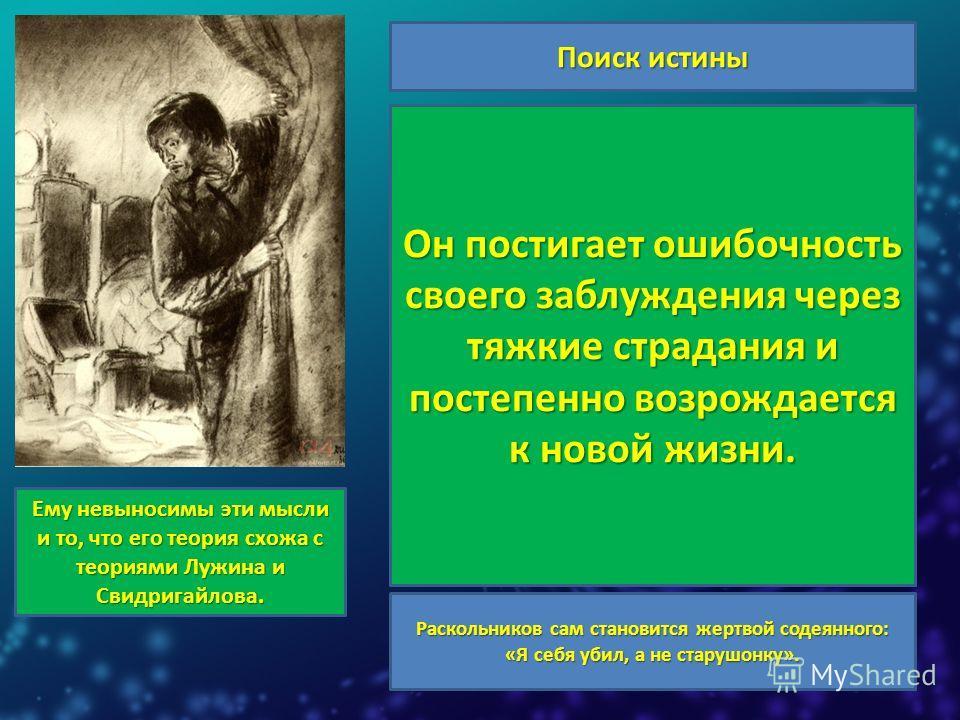 Поиск истины Теория Раскольникова делит людей на «слабых» и «сильных». Родиона мучает вопрос, кто он сам: «тварь дрожащая» или «право имеет». Герой не учитывает главного: убийство противно самой природе человека. Совершив преступление, он остро ощуща