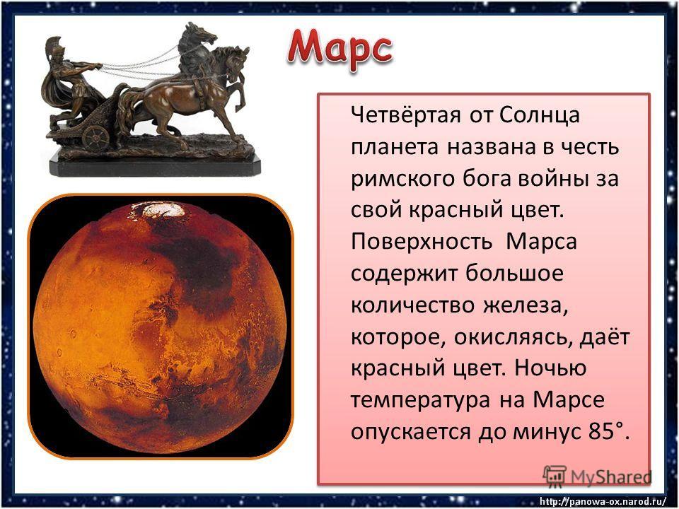 Четвёртая от Солнца планета названа в честь римского бога войны за свой красный цвет. Поверхность Марса содержит большое количество железа, которое, окисляясь, даёт красный цвет. Ночью температура на Марсе опускается до минус 85°.