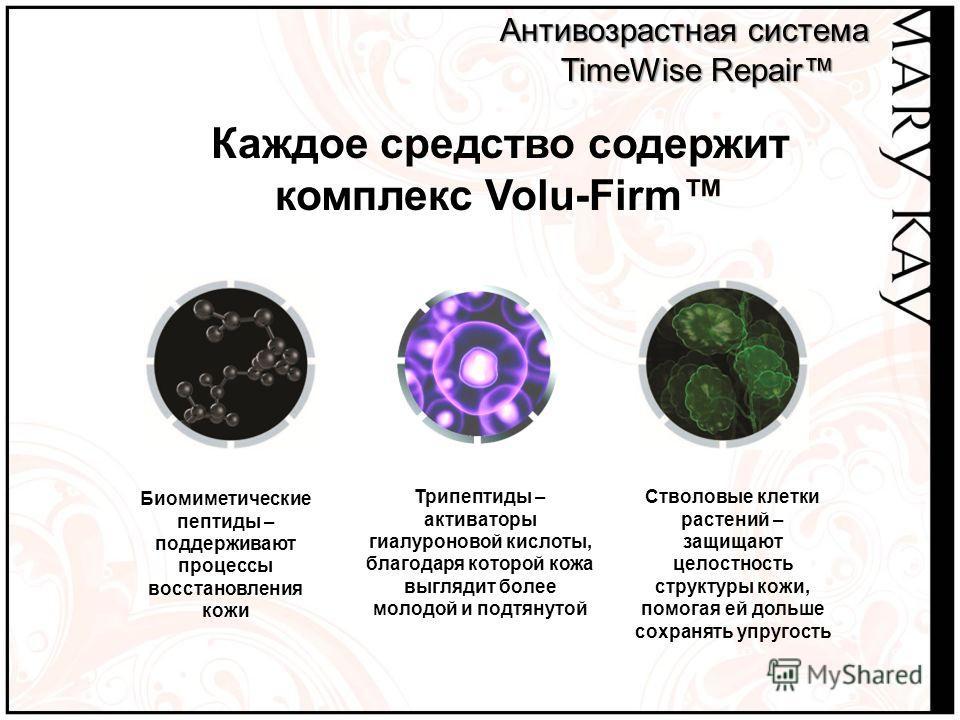 Каждое средство содержит комплекс Volu-Firm Антивозрастная система Антивозрастная система TimeWise Repair TimeWise Repair Биомиметические пептиды – поддерживают процессы восстановления кожи Трипептиды – активаторы гиалуроновой кислоты, благодаря кото