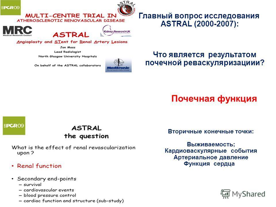 Главный вопрос исследования ASTRAL (2000-2007): Что является результатом почечной реваскуляризациии? Вторичные конечные точки: Выживаемость; Кардиоваскулярные события Артериальное давление Функция сердцаа Почечная функция