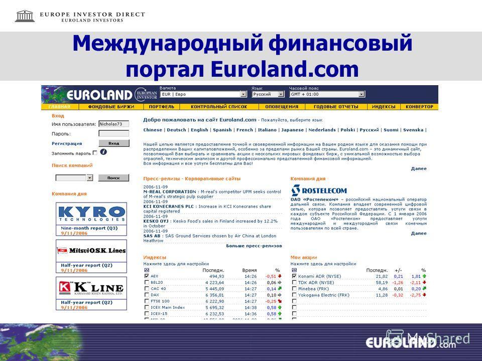 Международный финансовый портал Euroland.com