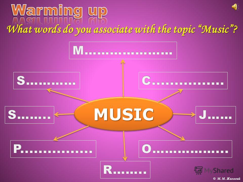 MUSICMUSIC What words do you associate with the topic Music? © М. М. Жилавий
