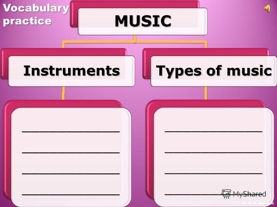 MUSIC Instruments ___________ Types of music ___________ © М. М. ЖилавийVocabularypractice