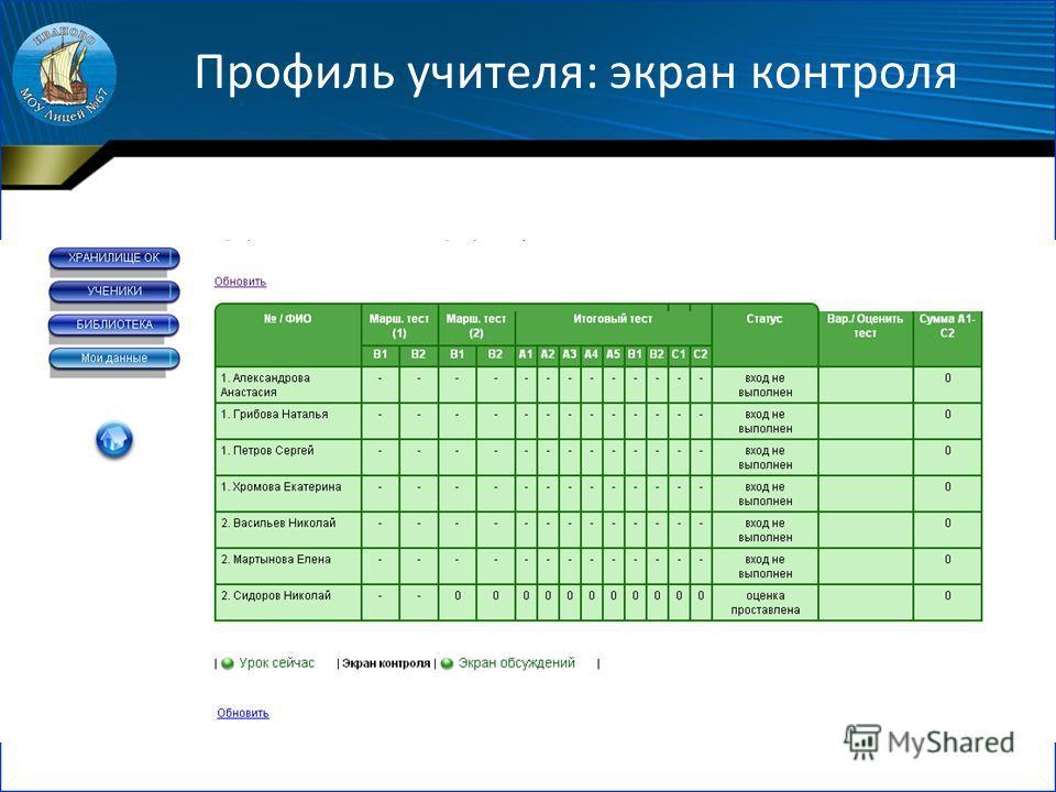 Профиль учителя: экран контроля