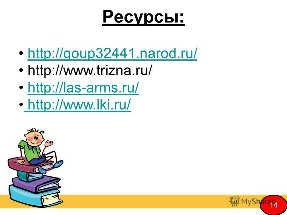 Ресурсы: http://goup32441.narod.ru/ http://www.trizna.ru/ http://las-arms.ru/ http://www.lki.ru/ http://www.lki.ru/ 14