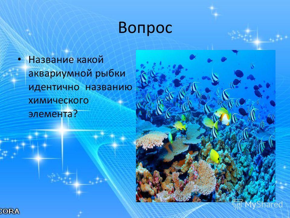 Вопрос Название какой аквариумной рыбки идентично названию химического элемента?