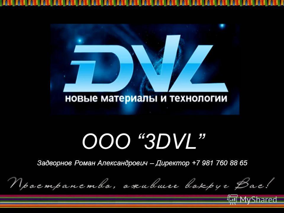 OOO 3DVL Задворнов Роман Александрович – Директор +7 981 760 88 65