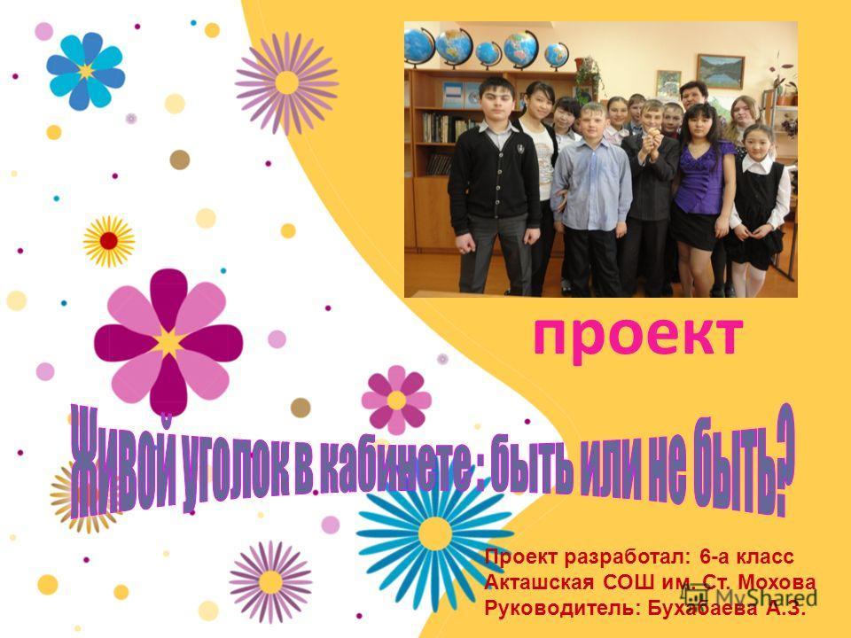 проект Проект разработал: 6-а класс Акташская СОШ им. Ст. Мохова Руководитель: Бухабаева А.З.