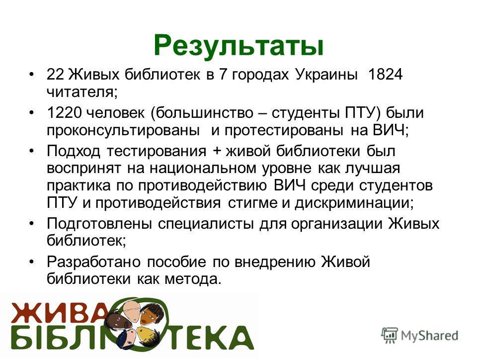 Результаты 22 Живых библиотек в 7 городах Украины 1824 читателя; 1220 человек (большинство – студенты ПТУ) были проконсультированы и протестированы на ВИЧ; Подход тестирования + живой библиотеки был воспринят на национальном уровне как лучшая практик
