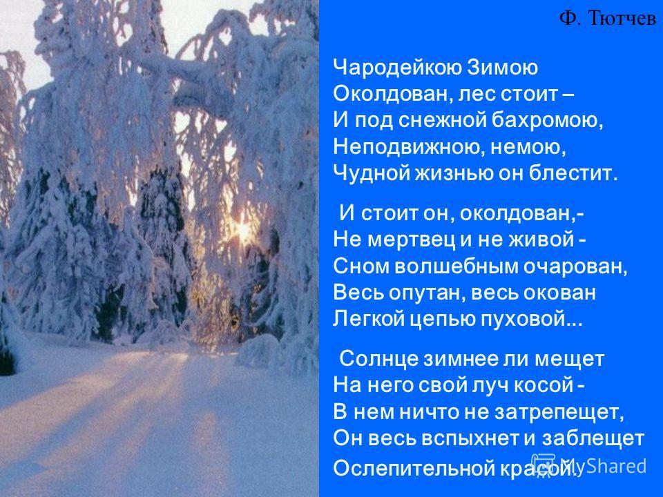 Чародейкою Зимою Околдован, лес стоит – И под снежной бахромою, Неподвижною, немою, Чудной жизнью он блестит. И стоит он, околдован,- Не мертвец и не живой - Сном волшебным очарован, Весь опутан, весь окован Легкой цепью пуховой... Солнце зимнее ли м