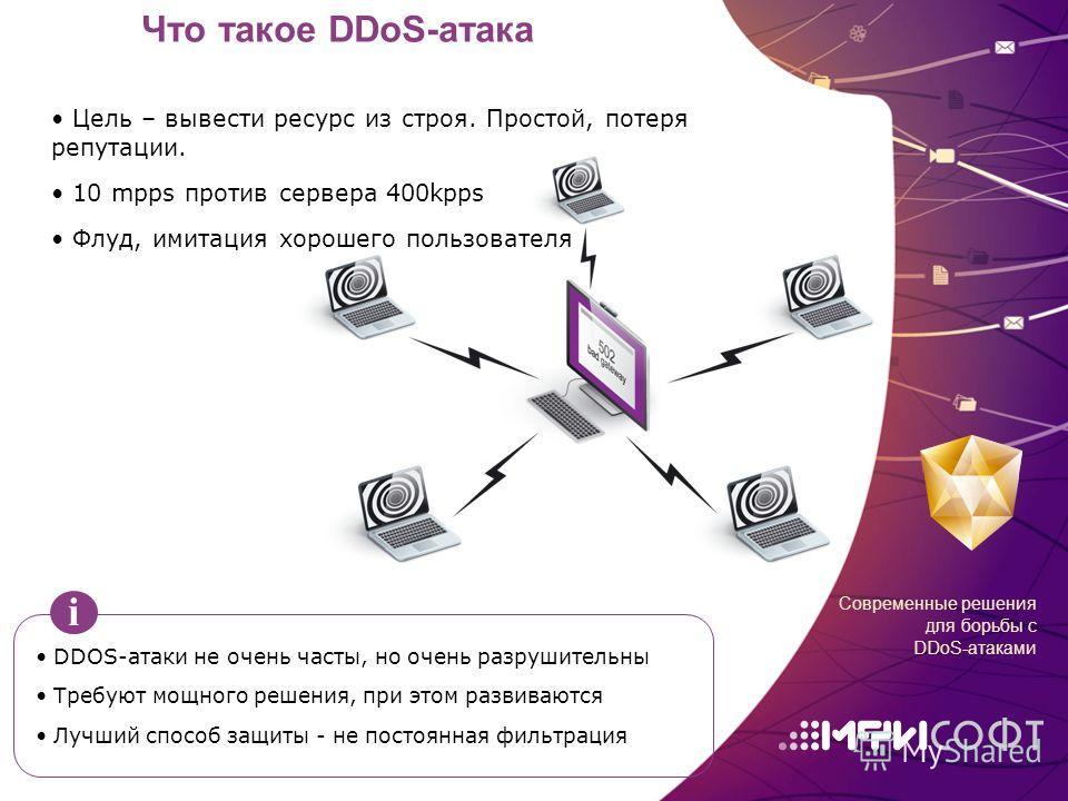 Что такое DDoS-атака DDOS-атаки не очень часты, но очень разрушительны Требуют мощного решения, при этом развиваются Лучший способ защиты - не постоянная фильтрация i Современные решения для борьбы с DDoS-атаками Цель – вывести ресурс из строя. Прост