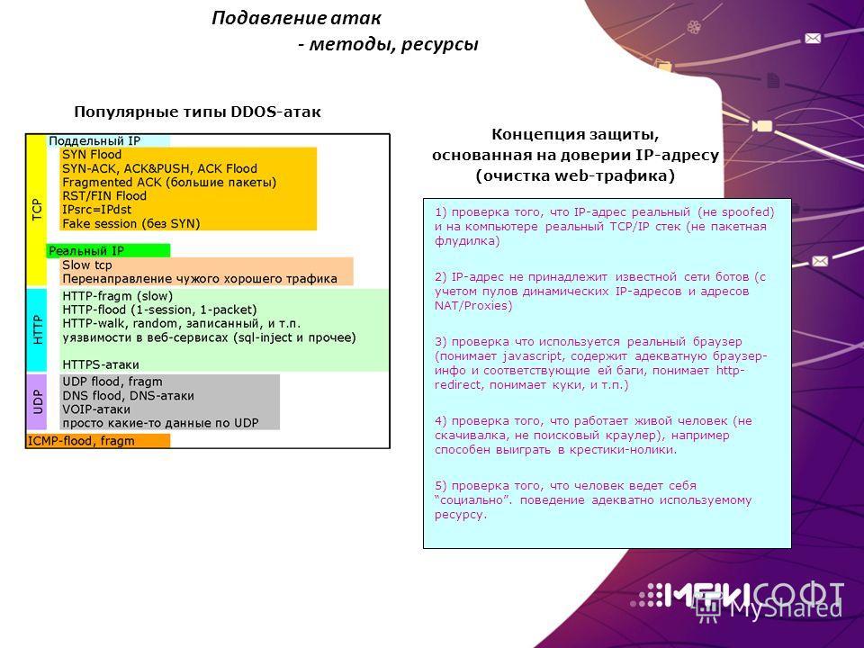 1) проверка того, что IP-адрес реальный (не spoofed) и на компьютере реальный TCP/IP стек (не пакетная флудилка) 2) IP-адрес не принадлежит известной сети ботов (с учетом пулов динамических IP-адресов и адресов NAT/Proxies) 3) проверка что использует