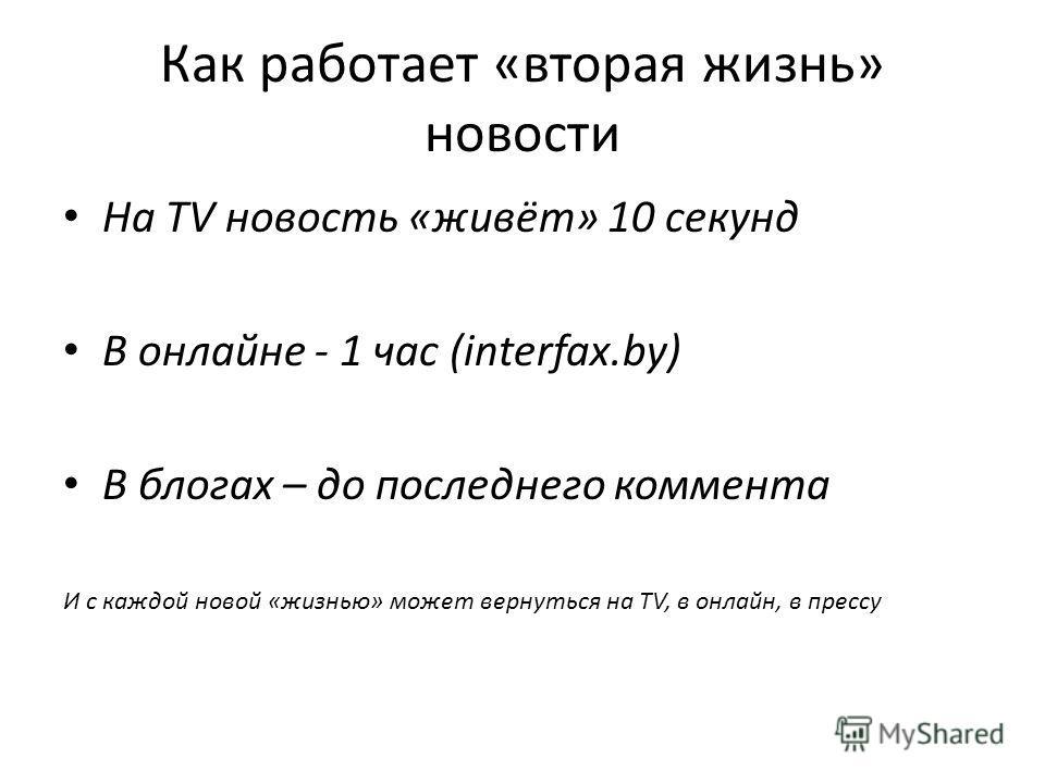 Как работает «вторая жизнь» новости На TV новость «живёт» 10 секунд В онлайне - 1 час (interfax.by) В блогах – до последнего коммента И с каждой новой «жизнью» может вернуться на TV, в онлайн, в прессу