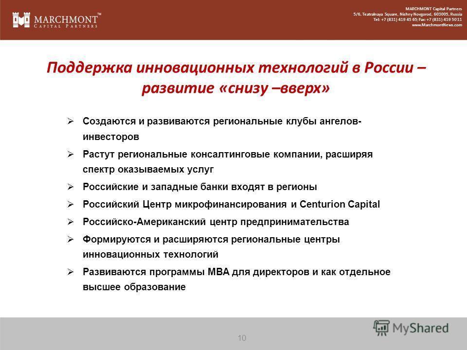 Создаются и развиваются региональные клубы ангелов- инвесторов Растут региональные консалтинговые компании, расширяя спектр оказываемых услуг Российские и западные банки входят в регионы Российский Центр микрофинансирования и Centurion Capital Россий