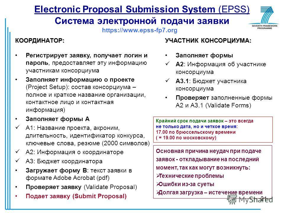 21 Electronic Proposal Submission System (EPSS) Система электронной подачи заявки https://www.epss-fp7.org КООРДИНАТОР: Регистрирует заявку, получает логин и пароль, предоставляет эту информацию участникам консорциума Заполняет информацию о проекте (