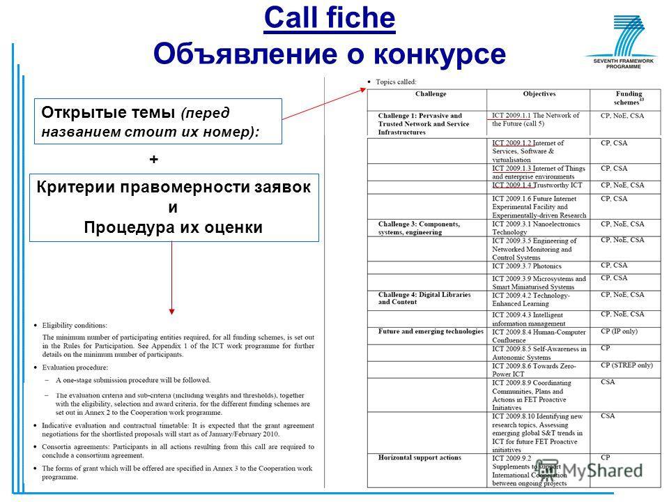7 Call fiche Объявление о конкурсе Открытые темы (перед названием стоит их номер): + Критерии правомерности заявок и Процедура их оценки