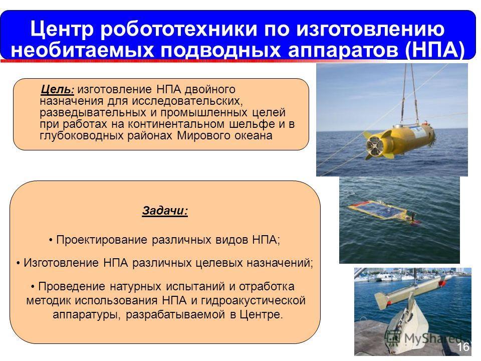 Центр робототехники по изготовлению необитаемых подводных аппаратов (НПА) Цель : изготовление НПА двойного назначения для исследовательских, разведывательных и промышленных целей при работах на континентальном шельфе и в глубоководных районах Мировог