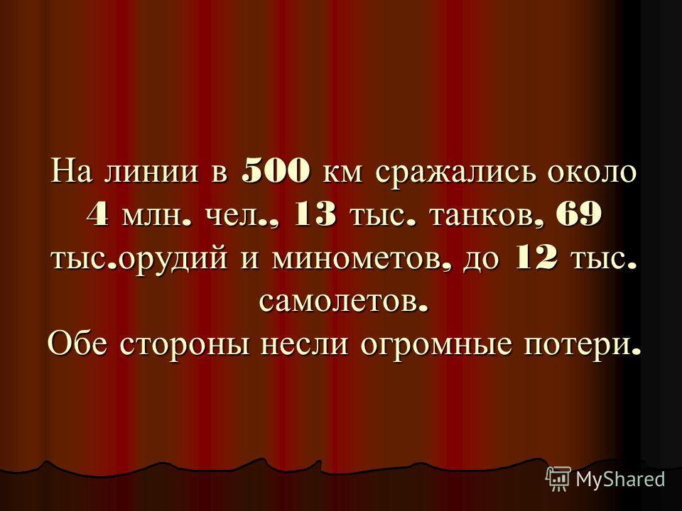 На линии в 500 км сражались около 4 млн. чел., 13 тыс. танков, 69 тыс. орудий и минометов, до 12 тыс. самолетов. Обе стороны несли огромные потери.