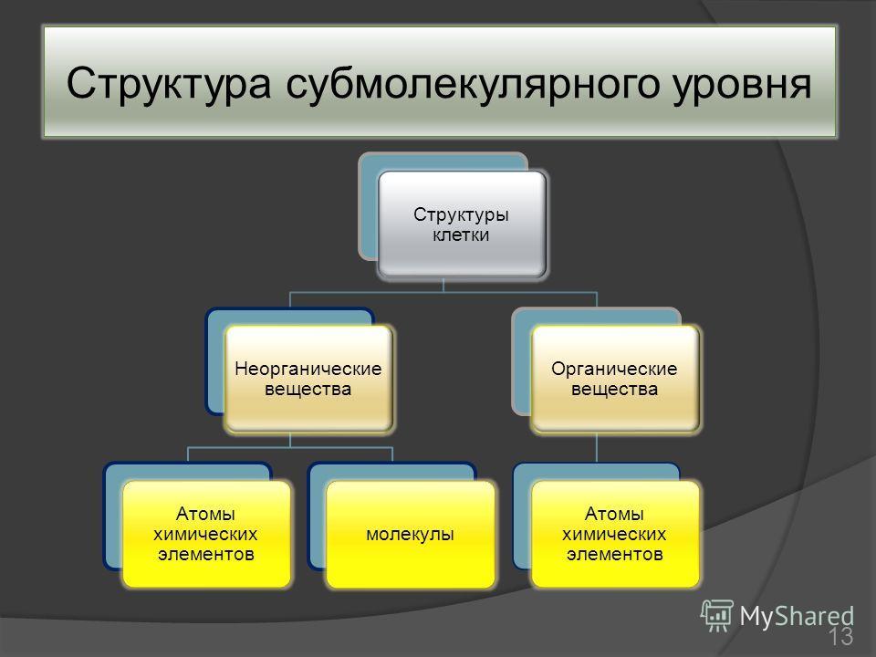 Структура субмолекулярного уровня Структуры клетки Неорганические вещества Атомы химических элементов молекулы Органические вещества Атомы химических элементов 13