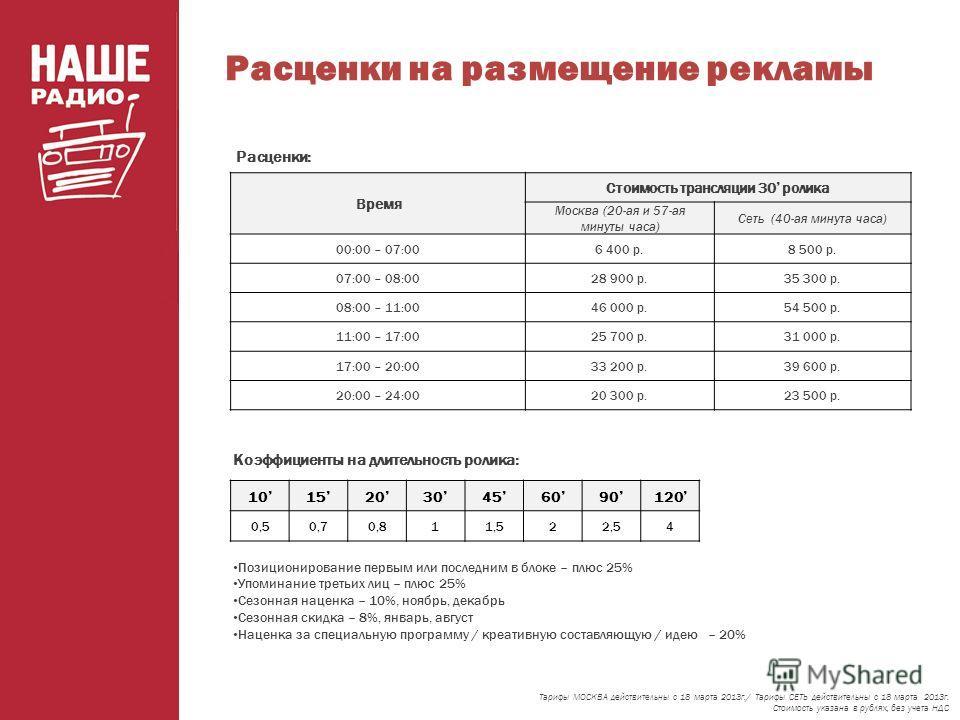 Расценки на размещение рекламы Тарифы МОСКВА действительны с 18 марта 2013г./ Тарифы СЕТЬ действительны с 18 марта 2013г. Стоимость указана в рублях, без учета НДС Коэффициенты на длительность ролика: Расценки: 10152030456090120 0,50,70,811,522,54 По