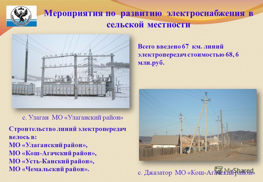 Мероприятия по развитию электроснабжения в сельской местности с. Улаган МО «Улаганский район» с. Джазатор МО «Кош-Агачский район» Всего введено 67 км. линий электропередач стоимостью 68, 6 млн.руб. Строительство линий электропередач велось в: МО «Ула