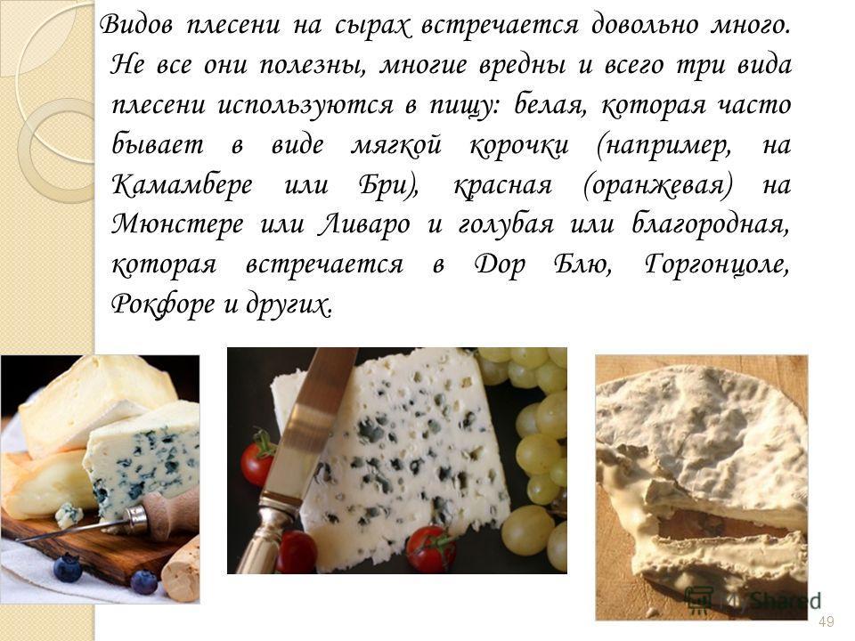 Видов плесени на сырах встречается довольно много. Не все они полезны, многие вредны и всего три вида плесени используются в пищу: белая, которая часто бывает в виде мягкой корочки (например, на Камамбере или Бри), красная (оранжевая) на Мюнстере или