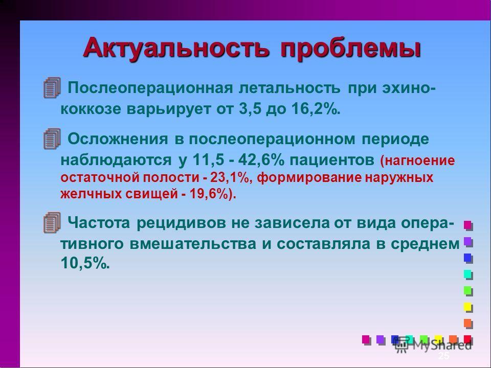 25 Актуальность проблемы 4 4 Послеоперационная летальность при эхино- коккозе варьирует от 3,5 до 16,2%. 4 4 Осложнения в послеоперационном периоде наблюдаются у 11,5 - 42,6% пациентов (нагноение остаточной полости - 23,1%, формирование наружных желч