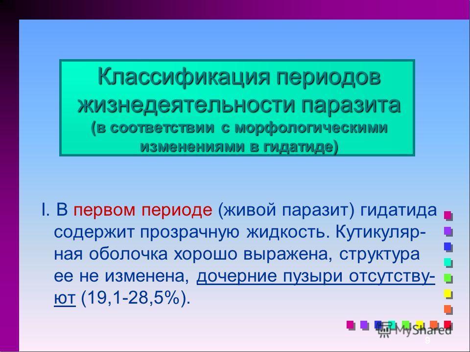 9 Классификация периодов жизнедеятельности паразита (в соответствии с морфологическими изменениями в гидатиде) I. В первом периоде (живой паразит) гидатида содержит прозрачную жидкость. Кутикуляр- ная оболочка хорошо выражена, структура ее не изменен